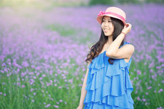 Smiling girl in the lavender Royalty Free Stock Photography
