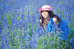 Smiling girl in the lavender Royalty Free Stock Images