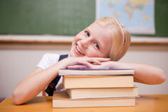 Smiling girl leaning on books Stock Images