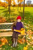 Smiling girl with leaves and folder Royalty Free Stock Image
