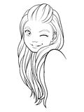 Smiling girl line Royalty Free Stock Photography