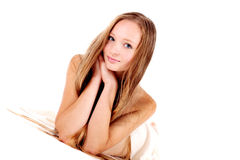 Smiling girl with long hair Royalty Free Stock Images