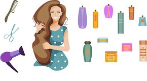 Smiling girl with long hair and hair products: hair dryer, comb, scissors, shampoo, hair balm, spray, etc. All elements in groups stock illustration