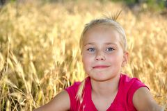 Smiling girl  on the meadow looking right at. Smiling little blond girl  on the meadow looking right at camera Royalty Free Stock Photo