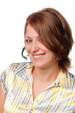 Smiling girl with a microphone Royalty Free Stock Image