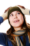 Smiling girl in mittens Stock Photography