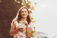 Smiling girl at morning street Stock Image