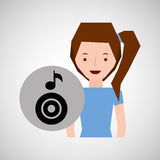 Smiling girl music disk note Royalty Free Stock Photography