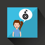 Smiling girl music disk note Stock Images