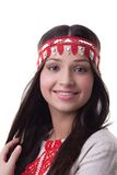 Smiling girl in national costume Stock Photos