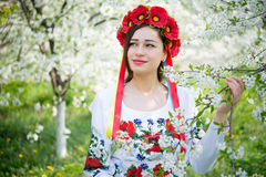 Smiling girl in national dress holding a blossoming branch Stock Images
