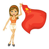 A smiling girl with a national flag of China Stock Photos