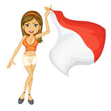 A smiling girl with a national flag of Indonesia Royalty Free Stock Photography