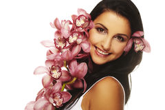 Smiling girl with nice flower Stock Photography