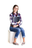 Smiling girl with notebook Stock Photography
