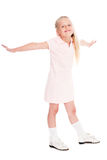 Smiling girl opened her arms to the sides Royalty Free Stock Images