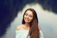 Smiling girl outdoors portrait Stock Image