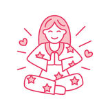 Smiling girl in padmasana, yoga line logo. Icon of woman meditation Stock Image