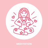 Smiling girl in padmasana, yoga line logo. Icon of woman meditation, relaxation and love energy. Vector illustration for Royalty Free Stock Images