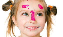 Smiling girl with the palms painted by a paint. Royalty Free Stock Photography