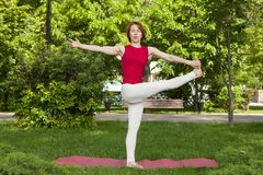 Smiling girl in the park exercise on the yoga mat, high lunge. Portrait stock photography