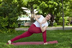 Smiling girl in the park exercise on the yoga mat, high lunge. Portrait stock photo