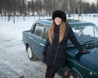 A smiling girl in a park in winter Royalty Free Stock Photography