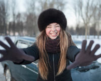 A smiling girl in a park in winter Royalty Free Stock Images