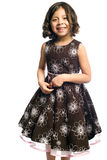 Smiling girl in party dress. Half body portrait of smiling young Hispanic girl wearing party dress, isolated on white background Royalty Free Stock Photo