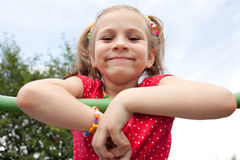 Smiling girl with pigtails Stock Images