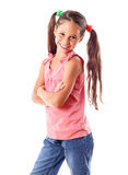 Smiling girl in pink dress Stock Photography
