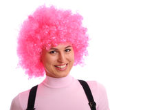 Smiling girl with pink hair Royalty Free Stock Photo