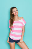 Smiling Girl In Pink Striped Shirt Royalty Free Stock Images