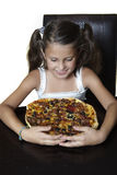 Smiling girl with pizza Royalty Free Stock Photos