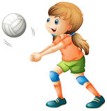 A smiling girl playing volleyball Royalty Free Stock Image