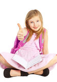 Smiling girl pointing ok sign over white Stock Photo