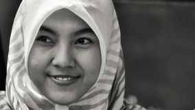 Smiling girl portrait in black and white. In indonesia Royalty Free Stock Photography