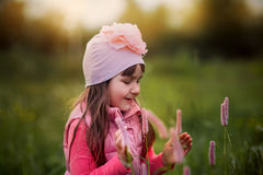 Smiling girl portrait  flowers Royalty Free Stock Images