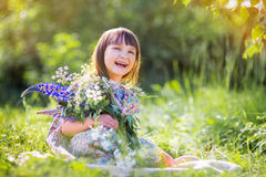 Smiling girl portrait  flowers Stock Photography