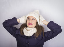 Smiling girl portrait wearing hat and gloves close Royalty Free Stock Images