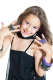 Smiling girl posing. Little girl with jewelry isolated on white Royalty Free Stock Photos