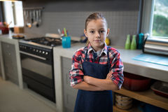 Smiling girl posing wearing an apron in the kitchen Royalty Free Stock Image