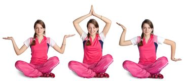 Smiling girl practicing yoga Royalty Free Stock Photos