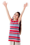 Smiling girl with raised hands Stock Photography