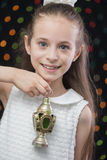 Smiling Girl with Ramadan Lantern Royalty Free Stock Photos