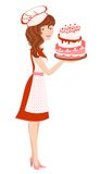 Smiling girl in red with cake Royalty Free Stock Photos