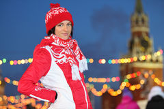 Smiling girl at GUM-Skating rink on Red Square Stock Photography