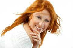 Smiling girl with red hair Royalty Free Stock Photos