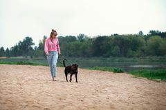 Smiling girl relaxing with dog.place for text royalty free stock photography