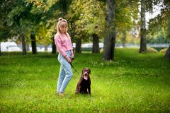 Smiling girl relaxing with dog. royalty free stock image